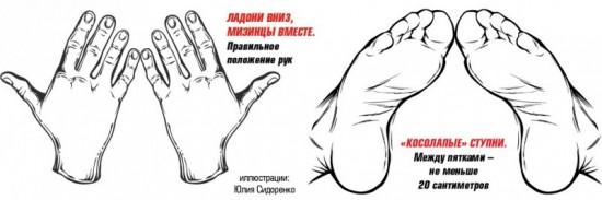 Правильное положение рук и ног